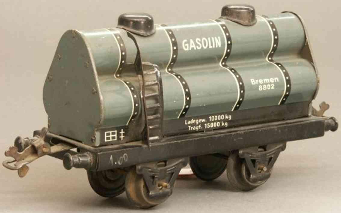 bub 1022 spielzeug eisenbahn gasroehrenwagen grau schwarz spur 0