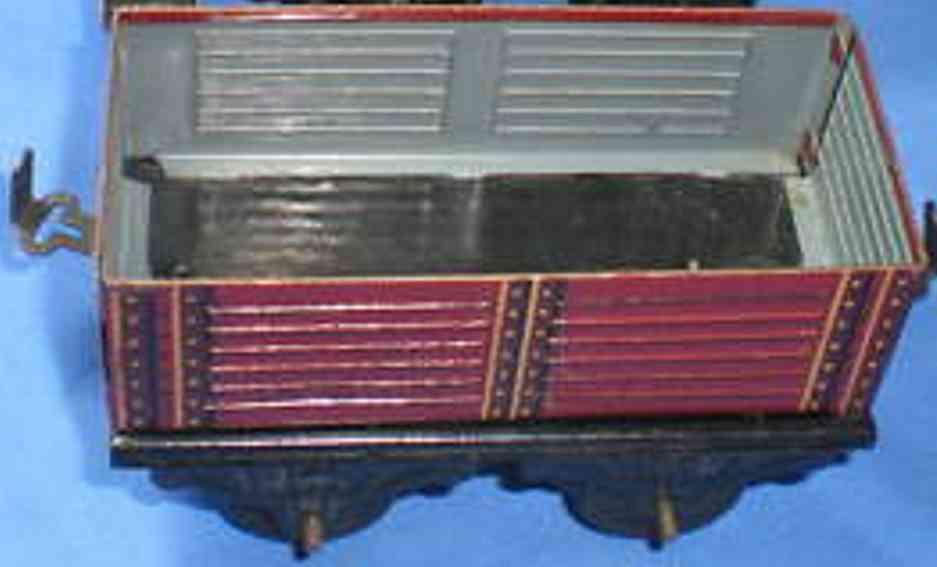 bub 1042/0 spielzeug eisenbahn offener gueterwagen rotbraun spur 0