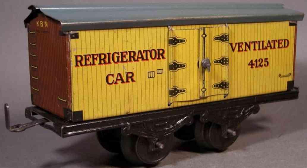 bub 1045/0 spielzeug eisenbahn kuehlwagen gelb refrigerator 4125 spur 0
