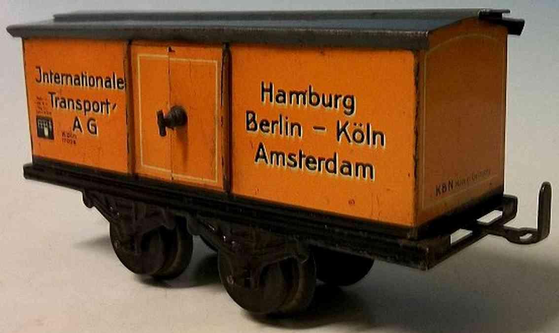 bub 1045/0/5 spielzeug eisenbahn möbelwagen; 2-achsig; orange lithografiert, ohne puffer, 2 d