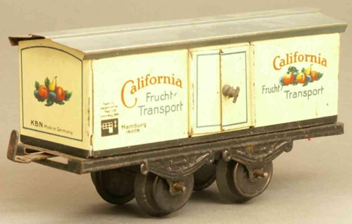bub 1045/0 spielzeug eisenbahn kühlwagen; 2-achsig; in elfenbeinfarbig und grau lithografie