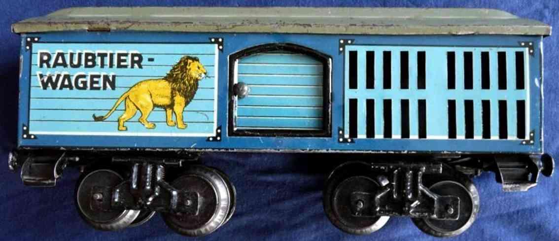 bub 1637/0 spielzeug eisenbahn raubtierwagen blau spur 0