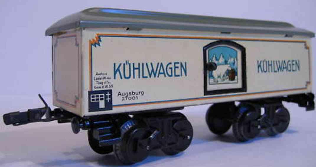 bub 1635/0/1 spielzeug eisenbahn kuehlwagen weiss grau blau spur 0