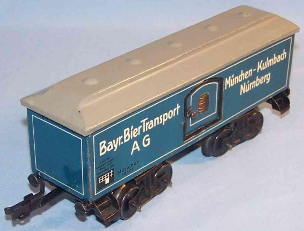 bub 1635/0/4 spielzeug eisenbahn bierwagen blau weiss spur 0