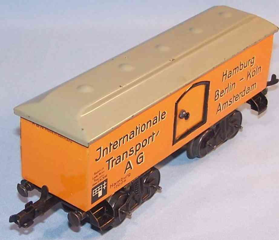 bub 1635/0/5 spielzeug eisenbahn gedeckter gueterwagen orange grau spur 0