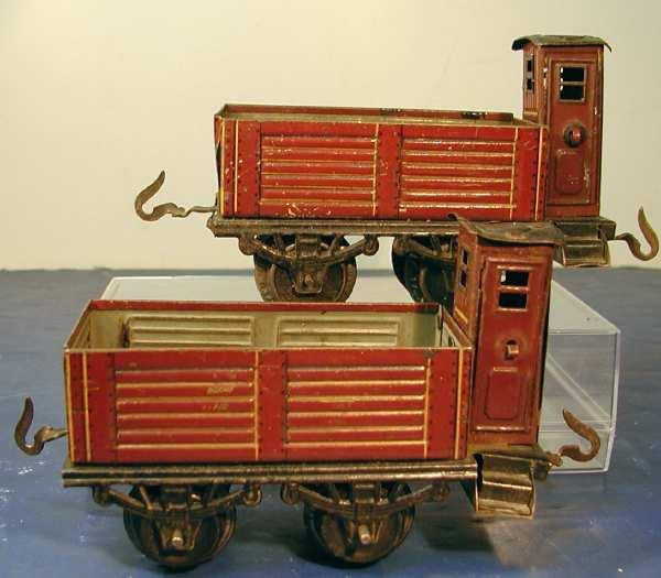bub 736/0 railway toy open freight car maroon gauge 0