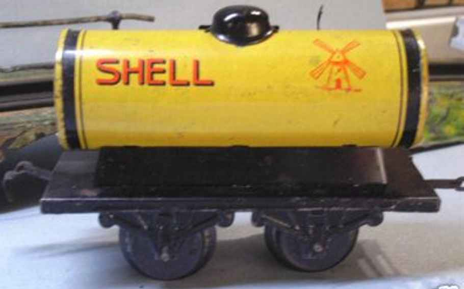 bub 737/0 railway toy tank car yellow shell gauge 0