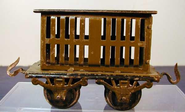 bub 738/0 railway toy cattle car maroon gauge 0