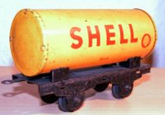 bub 800/41 railway toy tank car yellow shell gauge s