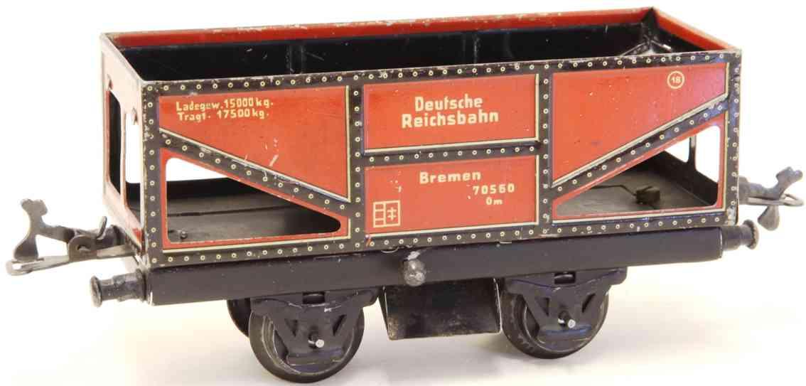 karl bub 922 spielzeug eisenbahn selbstentladewagen kohlenwagen rotbraun bremen spur 0