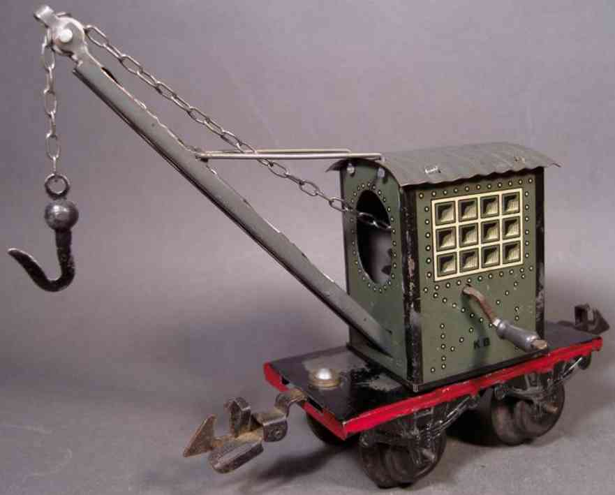 bub 954 railway toy crane car gray gauge 0
