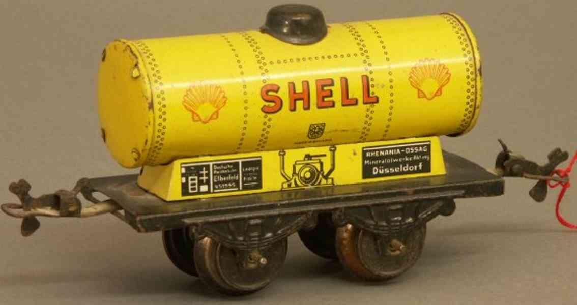 bub 1046/0 railway toy tank car yellow shell gauge 0