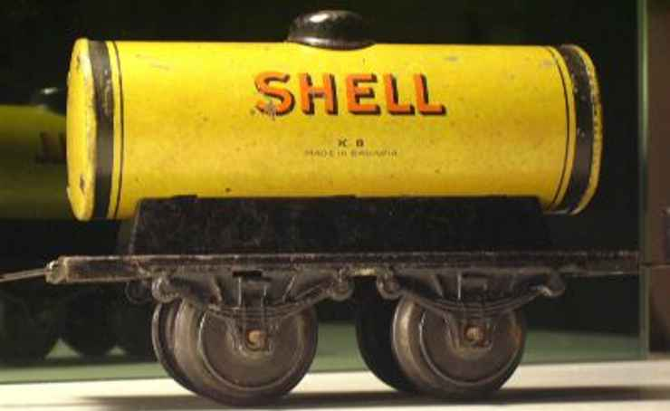 bub 960 railway toy tank car yellow shell gauge 0