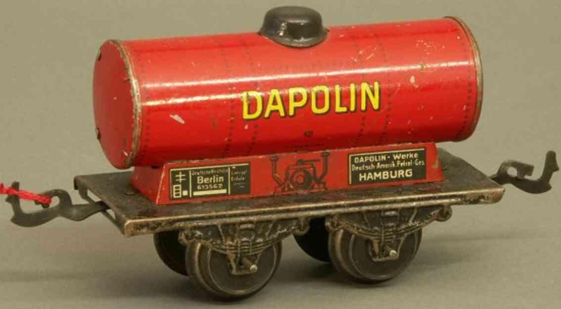 bub 961 railway toy tank car red dapolin gauge 0
