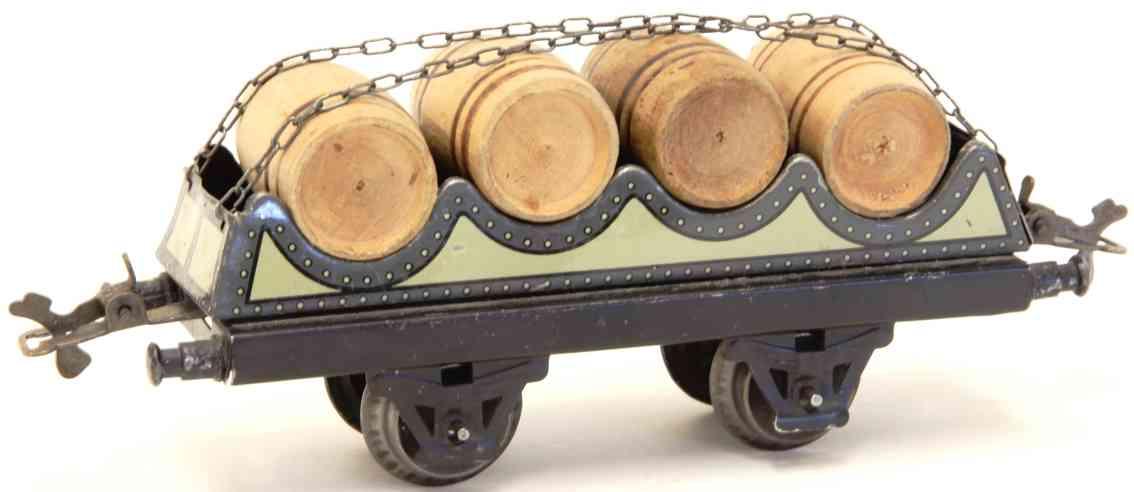 bub 981/0 railway toy barrel car olive-green gauge 0