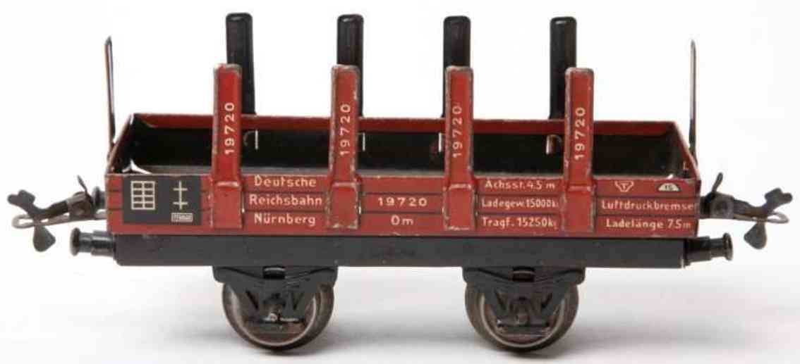 bub 983 railway toy flat car stakes maroon gauge 0
