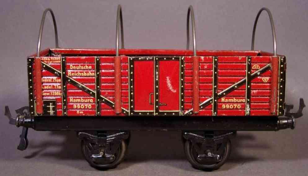 bub 984/0 railway toy tarpaulin car maroon gauge 0