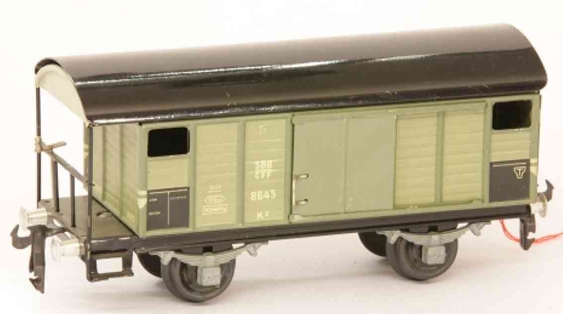 buco bucherer 8645 (1948) railway toy box car; 2-axis; in gray and black, riveted coupling