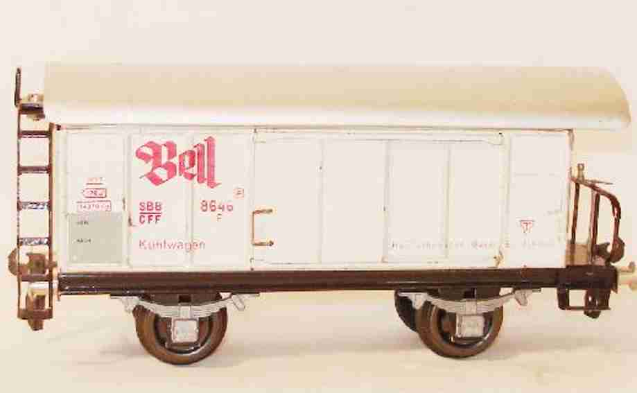 buco bucherer 8646 railway toy refrigerator car with stage; 2-axis; in white and alu colore