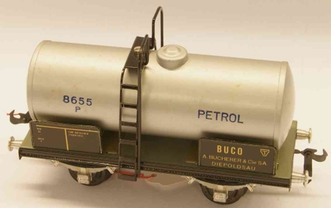 buco bucherer 8655 (1948) railway toy tank car; 2-axis; in silvery gray, riveted coupling 2, lette