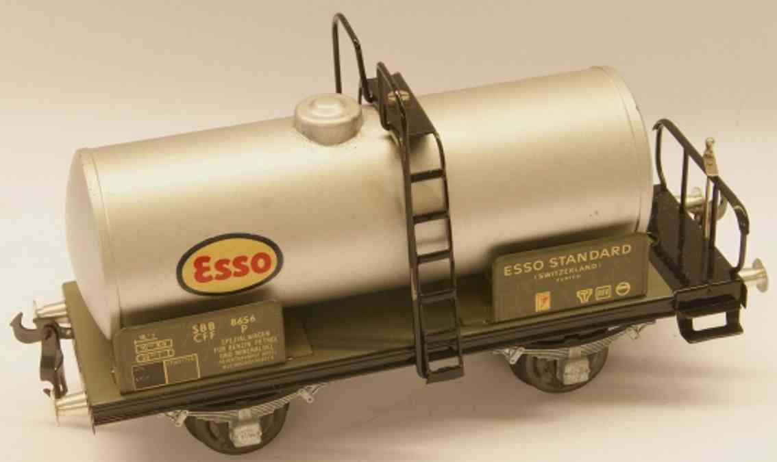 buco bucherer 8656 Esso railway toy tank car with stage; 2-axis; in silvery gray and black, scre