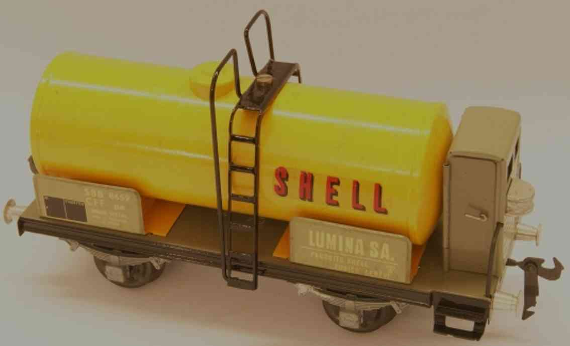buco bucherer 8658 SHELL railway toy tank car with brakeman house; 2-axis; in yellow and black, c