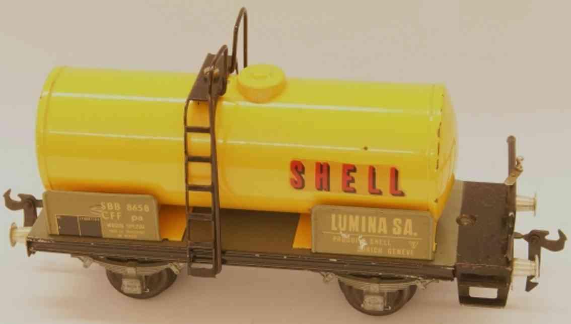 buco bucherer 8658 shell railway toy tank car yellow gauge 0