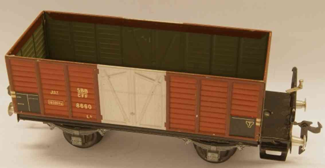 buco bucherer 8660 (1948) railway toy hopper; 2-axis; in brown and gray, riveted coupling 2