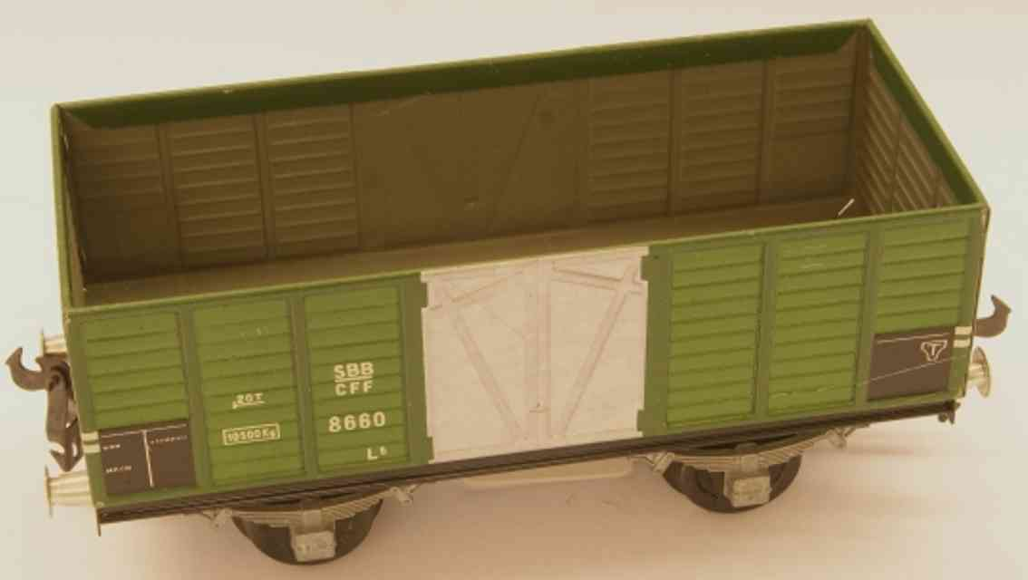 buco bucherer 8660 (1949)16 railway toy hopper; 2-axis; in green and gray, screwed coupling 2