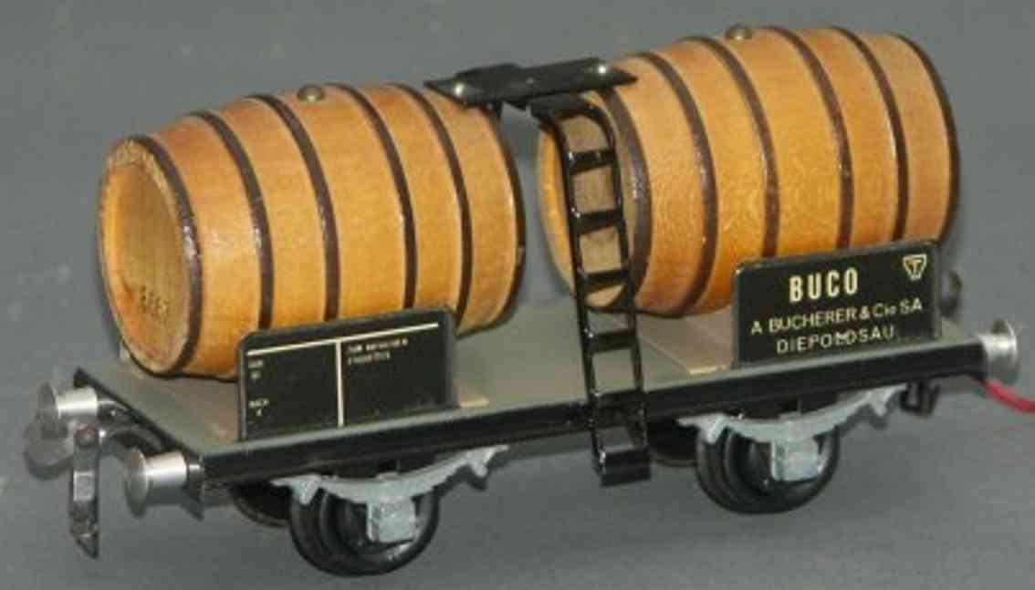 buco bucherer 8661 railway toy wine car; 2-axis; in brown and gray, with 2 wood barrels