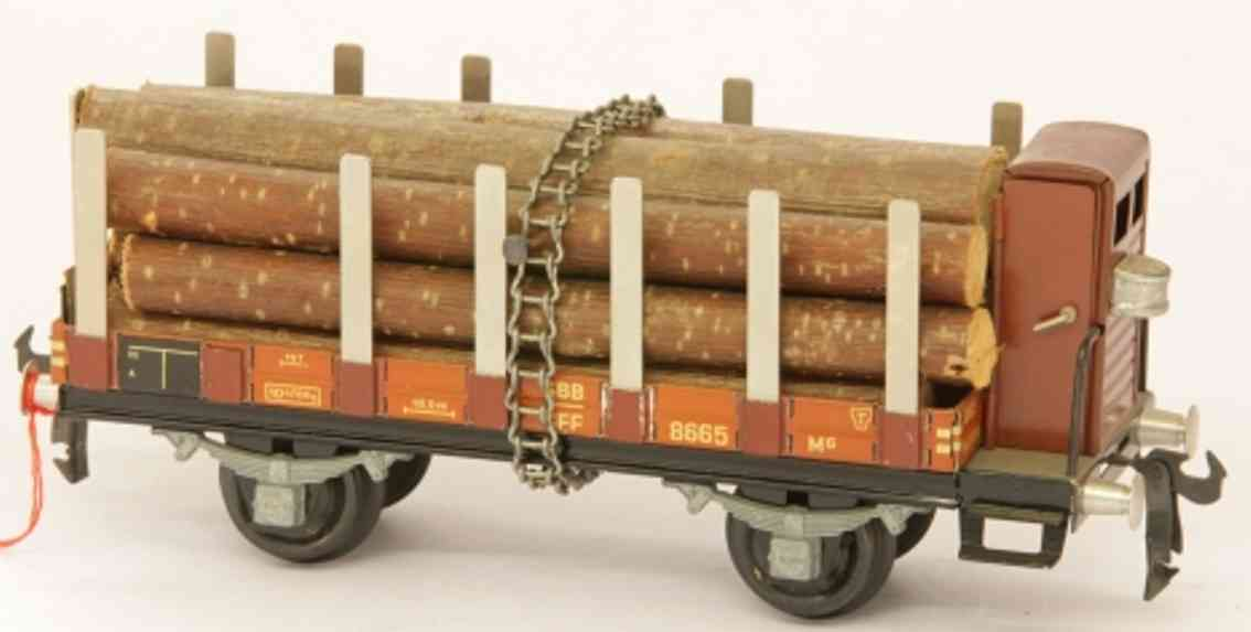 buco bucherer 8663 railway toy flat wagon with side stakes with brakeman house and wood run
