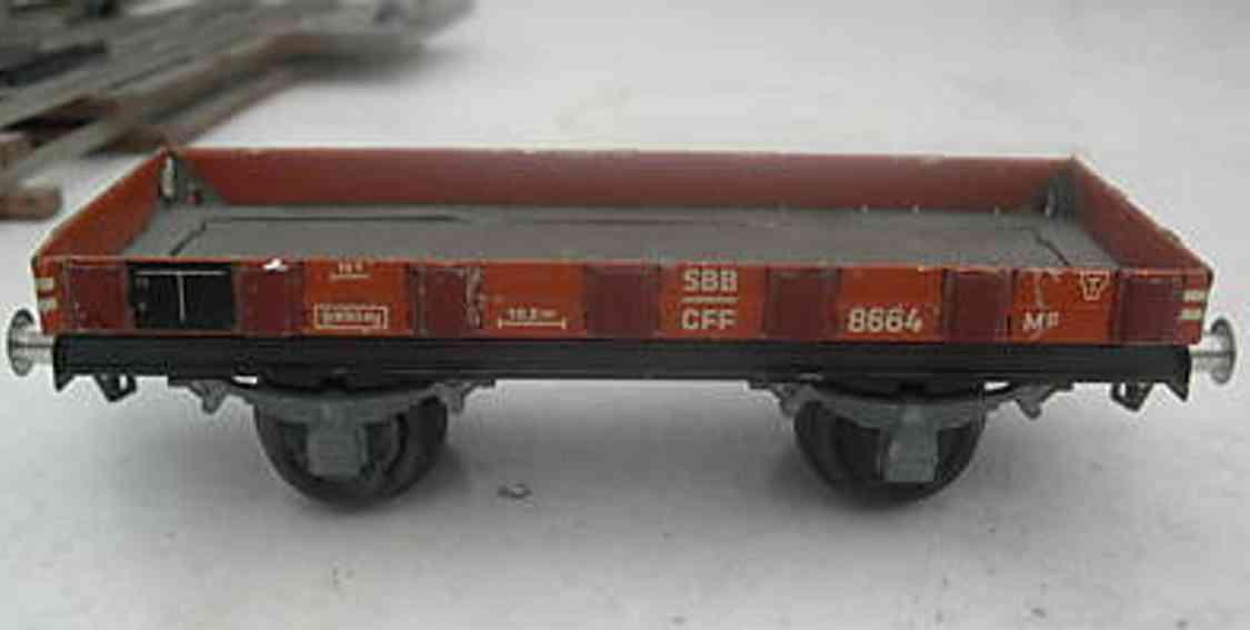 buco bucherer spielzeug eisenbahn niederbordwagen; 2-achsig, in rot und schwarz