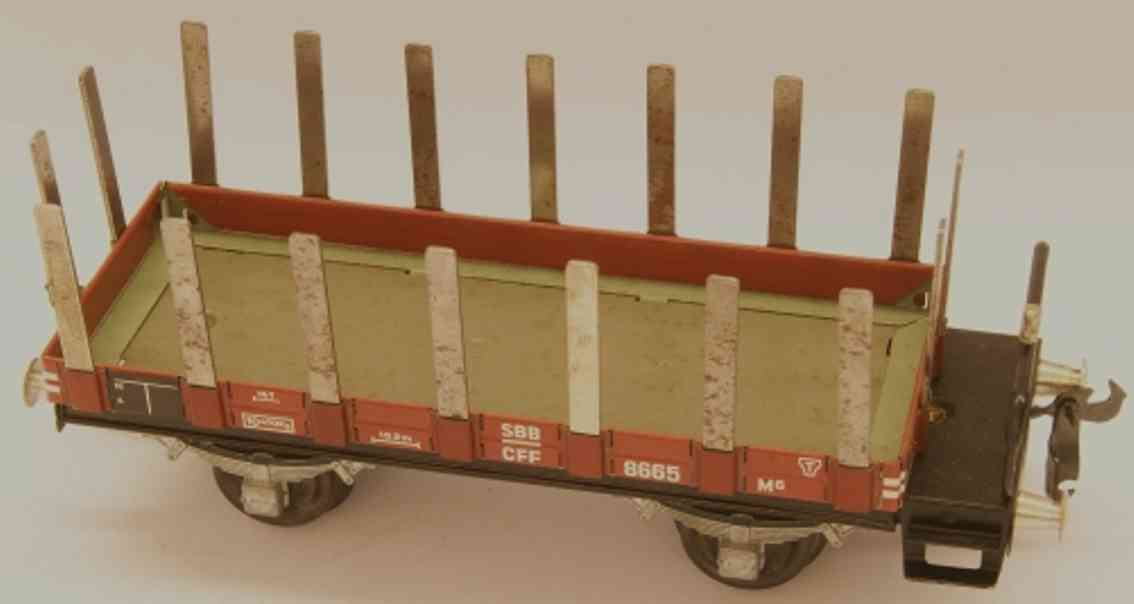 buco bucherer 8665 (1947) railway toy low shelf car m6 with stage; 2-axis; in brown and gray, scre
