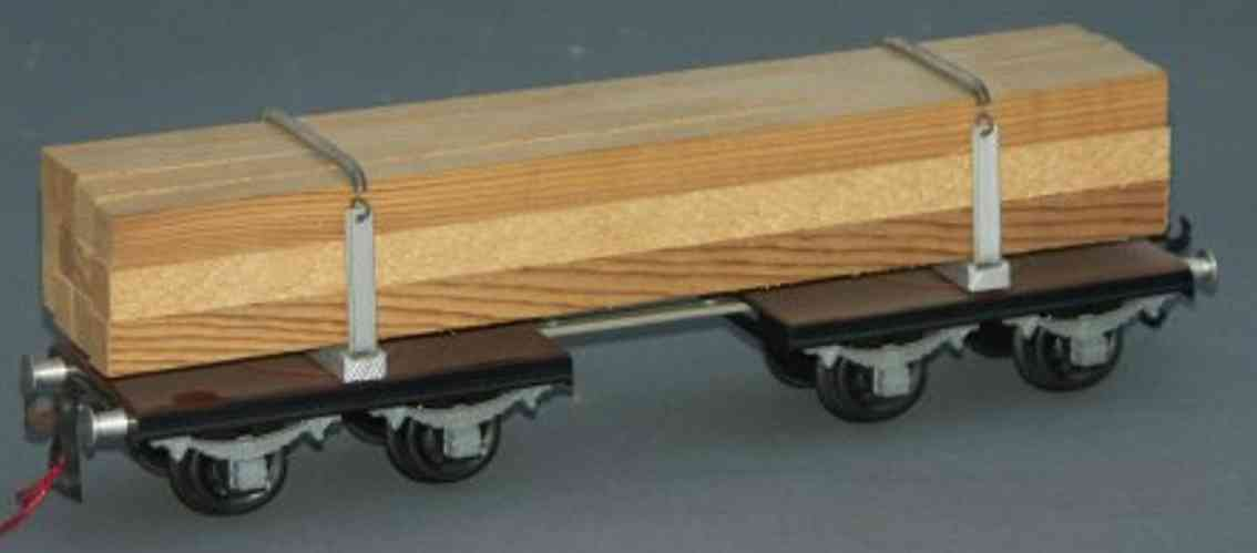 buco bucherer 8668/g railway toy long-cut wood car; 2 x 2-axis; in brown, load with squared t