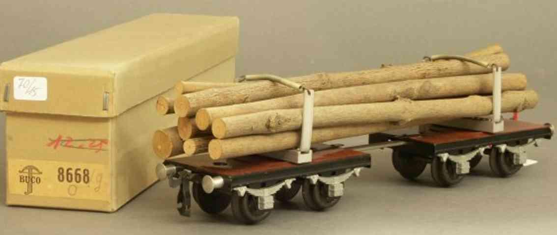 buco bucherer 8668/g railway toy long-cut wood car; 2 x 2-axis; in brown and black