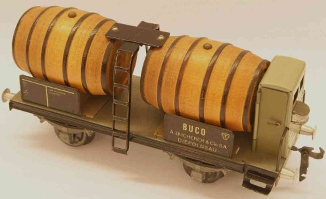 buco bucherer 8669 (1952) railway toy wine cask car with brakeman house; 2-axis; in brown, gray an