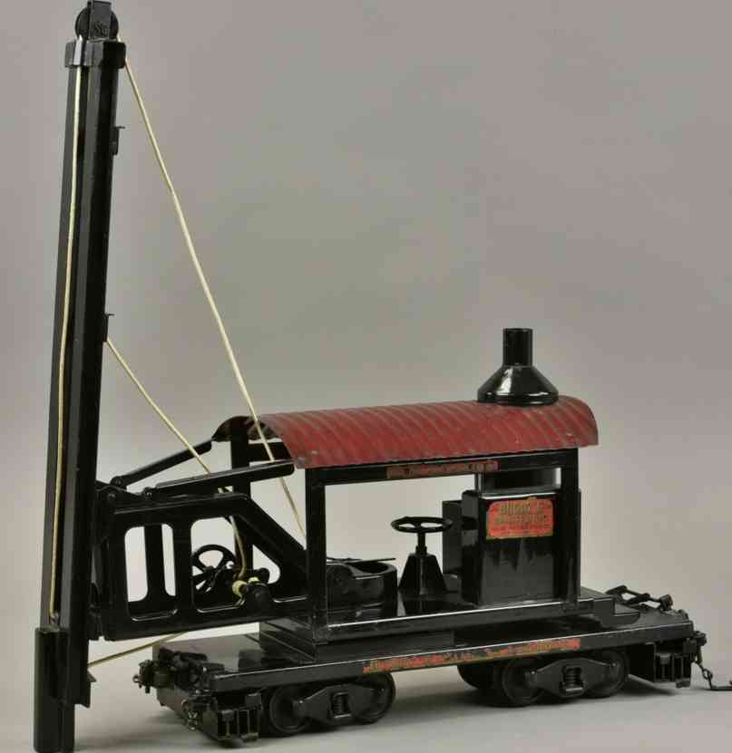 buddy l railway toy box car with pile driver