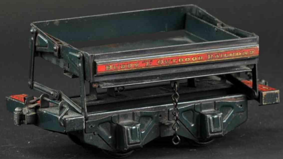buddy l railway toy outdoor railroad construction car pressed steel dark green