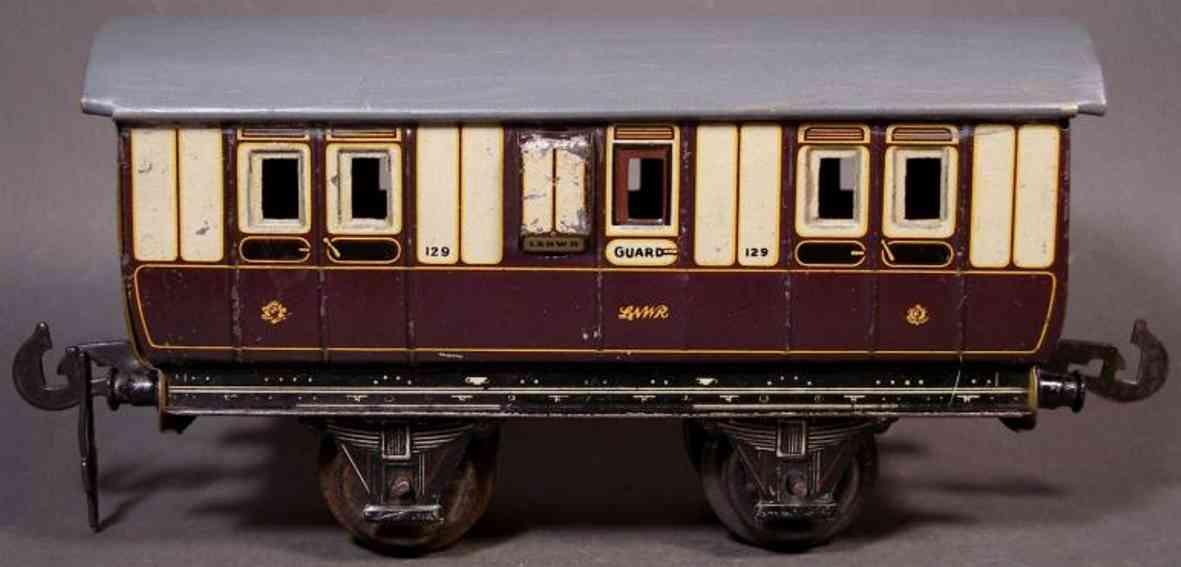 carette 129/2/35 spielzeug eisenbahn gepäckwagen; 2-achsig; braun und cremefarbig lithografiert,