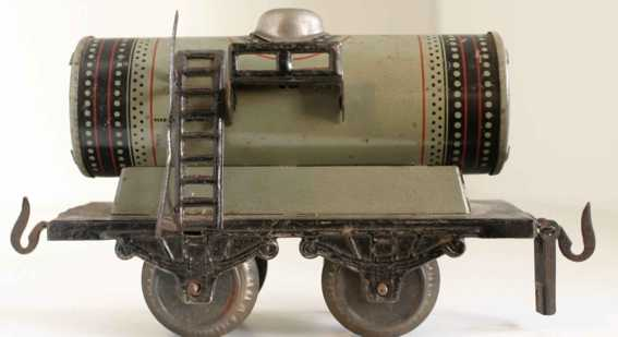 carette 130/13/35 spielzeug eisenbahn kesselwagen; 2-achsig; olivgrau chromlithografiert, ohne puf