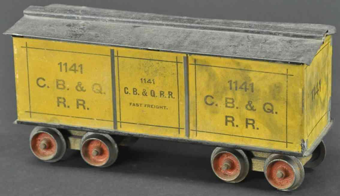 carlisle & finch 1141 spielzeug eisenbahn geschlossener gueterwagen gelb schwarz