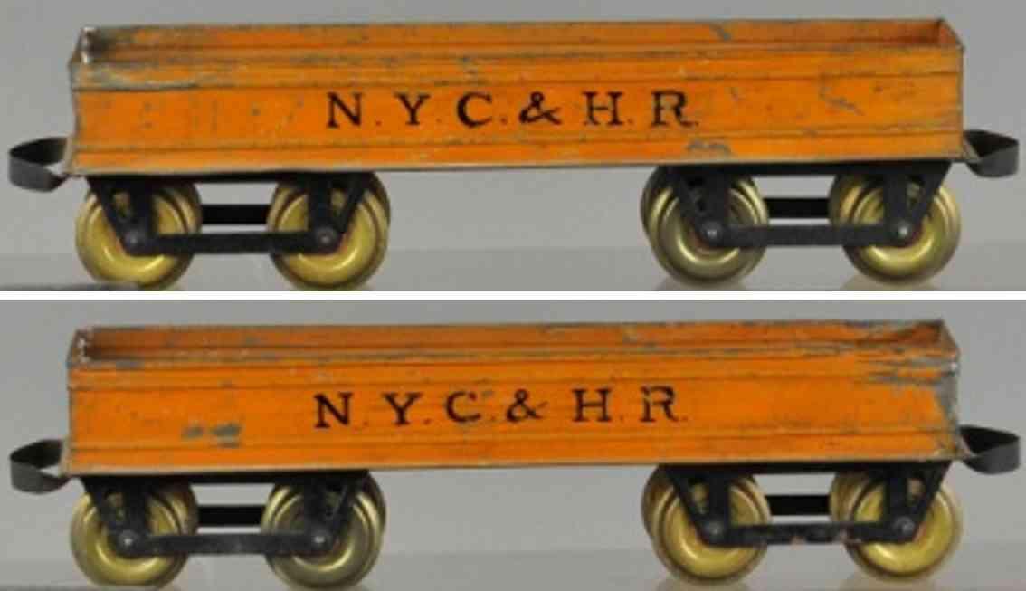 carlisle & finch 90 nyc&hr railway toy box car gondola orange