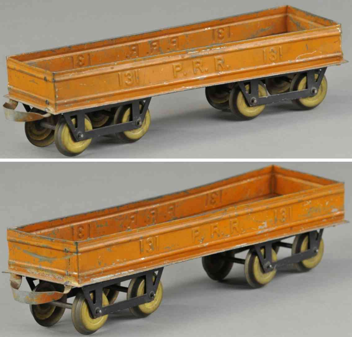 carlisle & finch 90 railway toy gondola  orange 131 prr