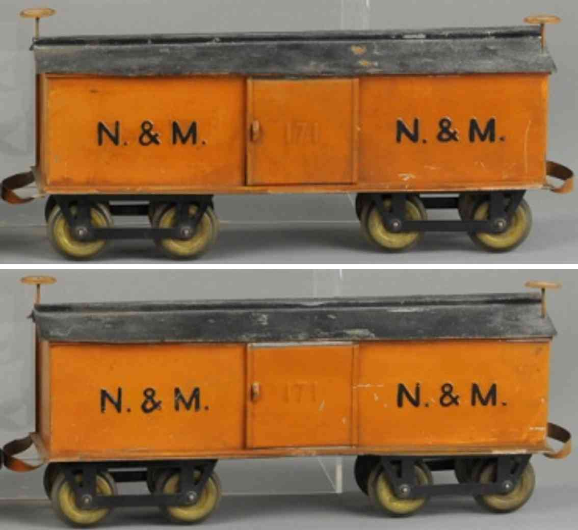 carlisle & finch 91 n&m railway toy box car orange