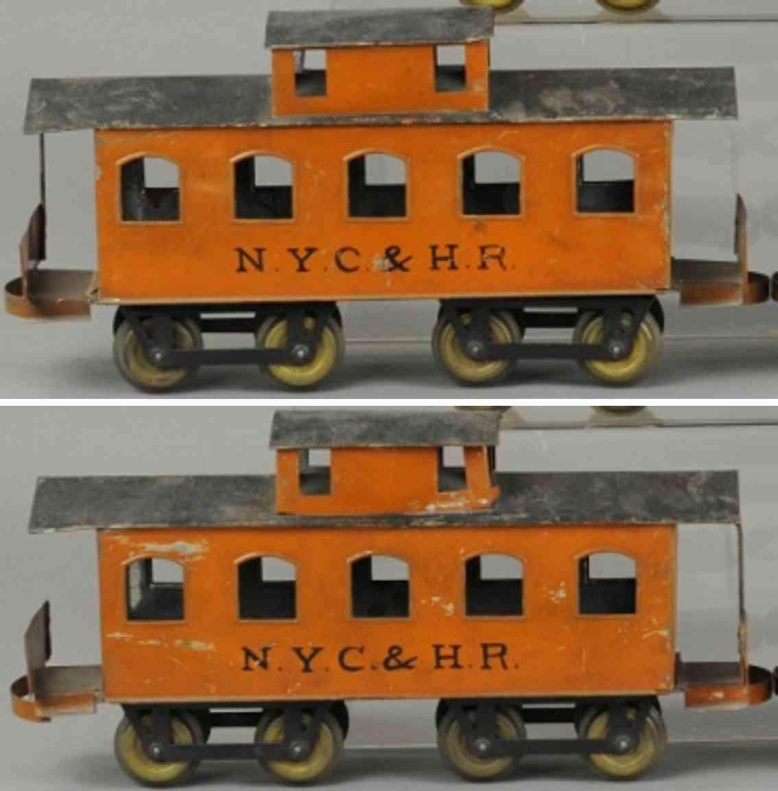 carlisle & finch 92 nyc&hr railway toy caboose orange