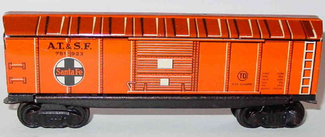 distler johann 521 railway toy box car brown at&sf gauge h0