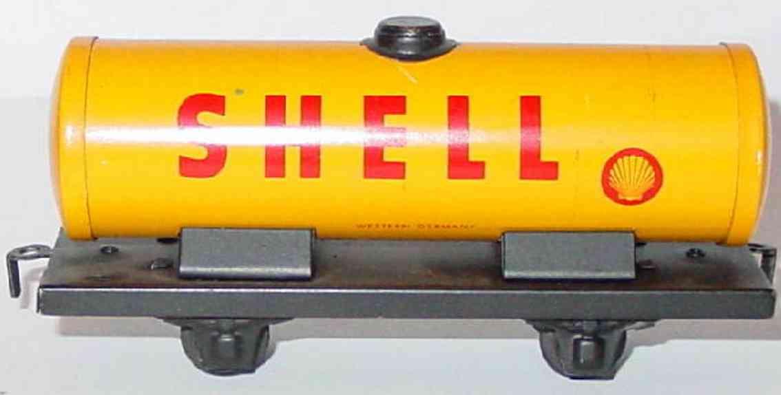 distler johann 531 railway toy shell tank car yellow black gauge h0