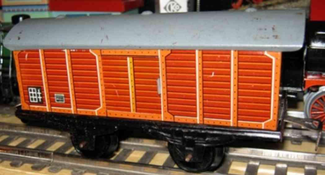 distler spielzeug eisenbahn güterwagen; 2-achsig; braun lithografiert, 2 schiebetüren