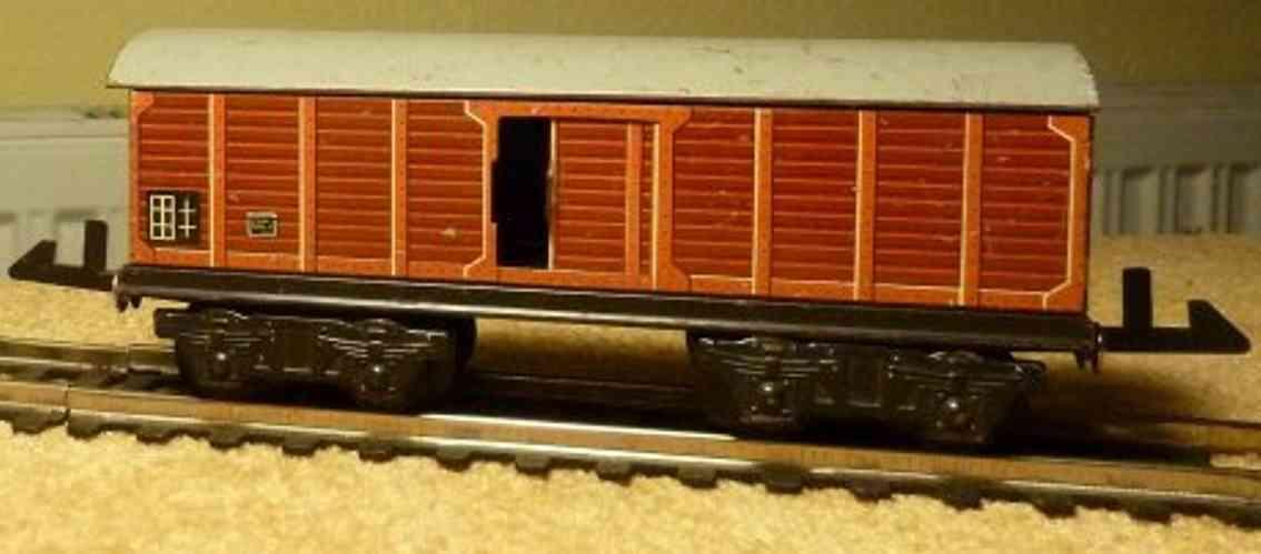 distler spielzeug eisenbahn güterwagen; 4-achsig; braun lithografiert, 2 schiebetüren
