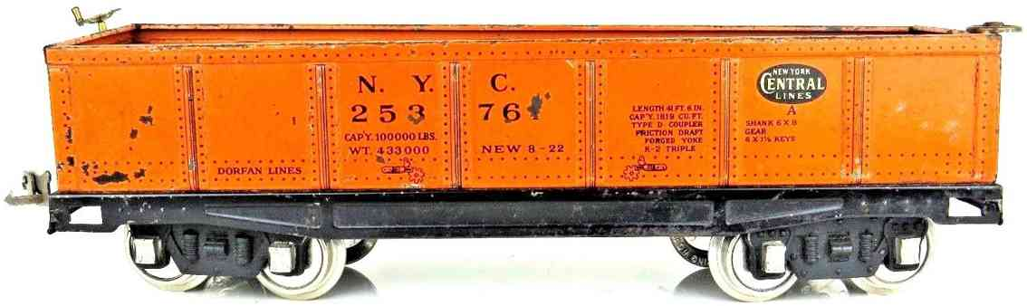 dorfan 25376 eisenbahn offener gueterwagen ny central lines orange wide gauge